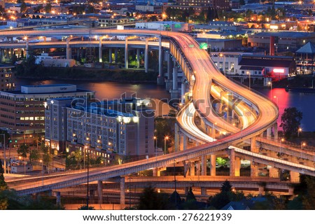 Night Scene of Interstate 5 in Portland, Oregon during rush hour - stock photo