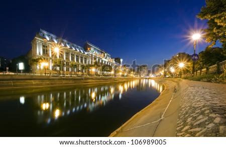 night scene of Justice Palace, Bucharest, Romania - stock photo