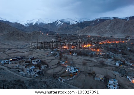 Night scene of Leh city from Shanti stupa , Ladakh Jammu&Kashmir India - stock photo