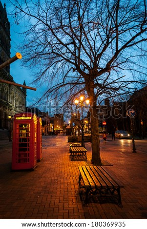 Night scene of main square in Chester a traditional and historic  town of England. - stock photo