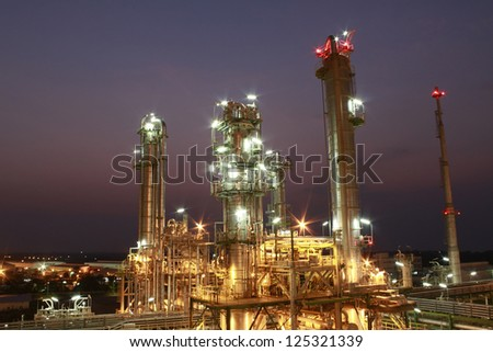 Night scene of petrochemical Plant
