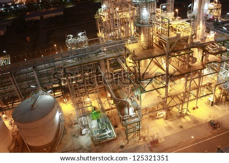 Night scene of petrochemical Plant - stock photo