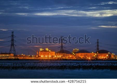 Night scene of Power plant - stock photo