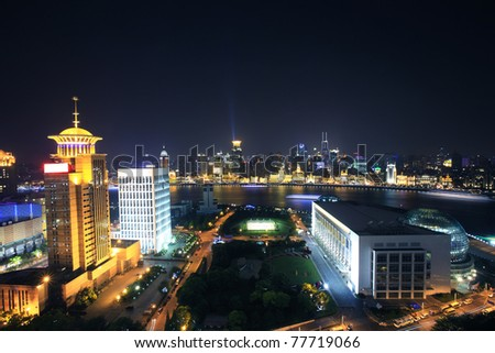 night scene of shanghai - stock photo