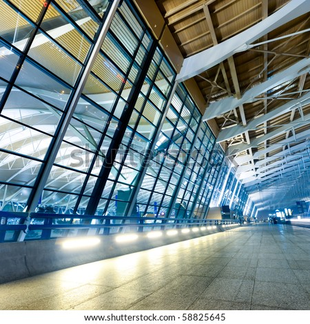 night scene of Shanghai's Pudong International Airport Terminal t2. - stock photo