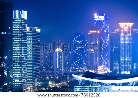 night scene of shenzhen special economic zone,China - stock photo