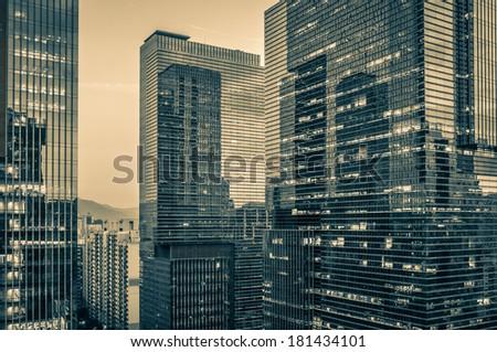 Night scene of skyscrapers in Gangnam, Seoul. - stock photo