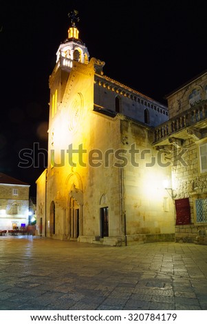 Night Scene of St Mark Cathedral, in the old town of Korcula, Croatia - stock photo