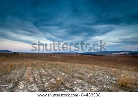 Night scene of the agriculture field - stock photo
