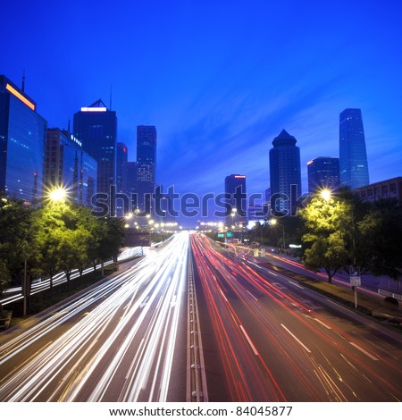 night scene of the central business district in beijing,China - stock photo