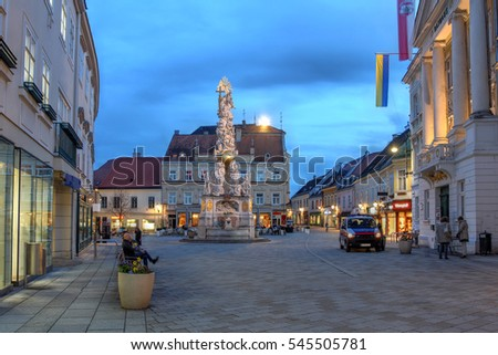Night scene of the central square in Baden bei Wien, a small spa-town near Vienna, Austria