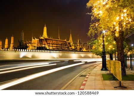 Night scene of the Grand Palace in Bangkok, Thailand - stock photo