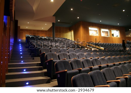 Night scene of the interior of a theater - stock photo