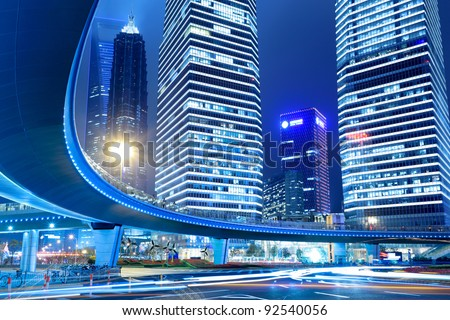 night scene of the lujiazui downtown in shanghai,China. - stock photo