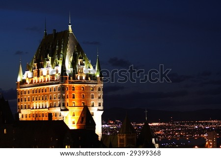 Night scene of the national landmark, Chateau Frontenac in Quebec City, Canada - stock photo