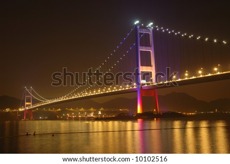 Night scene of tsing ma bridge in Hong Kong