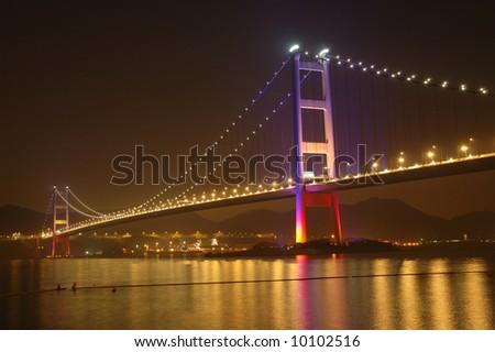 Night scene of tsing ma bridge in Hong Kong - stock photo