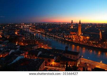 night scene of Verona, Italy