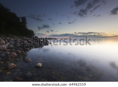 Night scene, southern of Sweden - stock photo