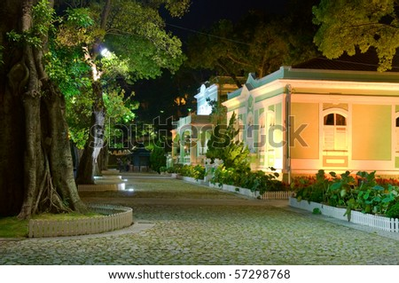 Night scene, the colonial house in the Houses-Museum in Taipa island, Macau - stock photo