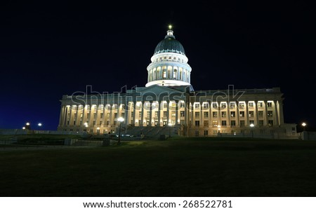 Night scene with the state capitol building, Salt Lake City, Utah, USA. - stock photo