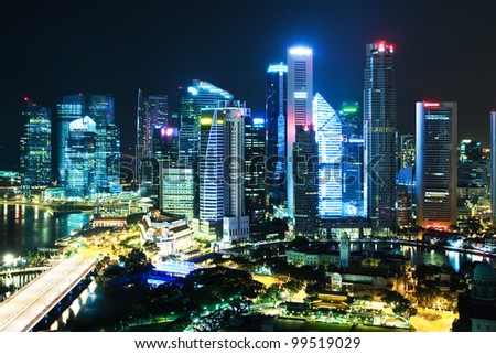 Night Scenery of Singapore's downtown high-rise buildings and neighborhoods in night light - stock photo