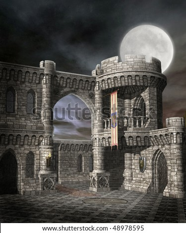 Night scenery with a fantasy castle