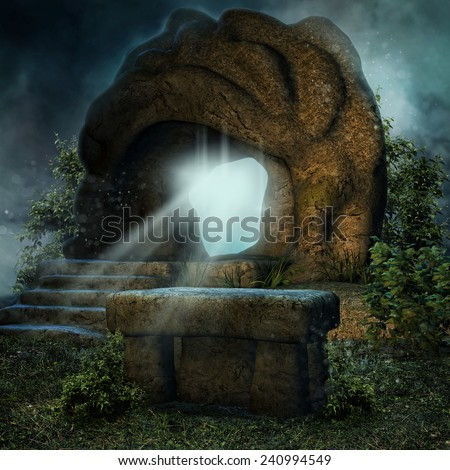Night scenery with a magic rock and a stone altar on a meadow - stock photo