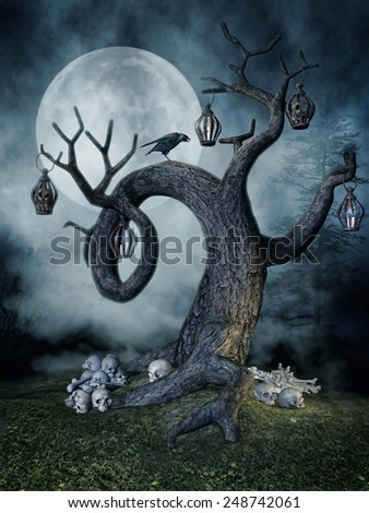 Night scenery with a tree with lamps, skulls and a raven - stock photo
