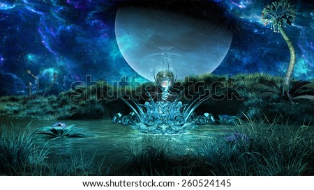 Night scenery with huge planet and strange glass device  on the pond surface