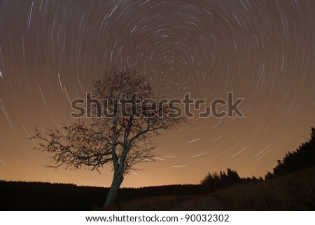 Night scenery with moving stars