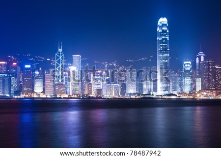 night scenes of Hong Kong at victoria harbour - stock photo