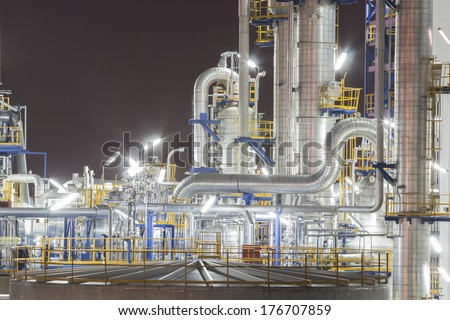 Night scent of refinery tower in chemical plant - stock photo