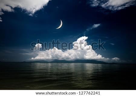 night sea and moon - stock photo