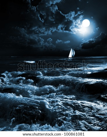 night sea in the moonlight - stock photo