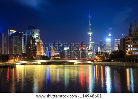 night shanghai, beautiful suzhou river and lujiazui financial center - stock photo