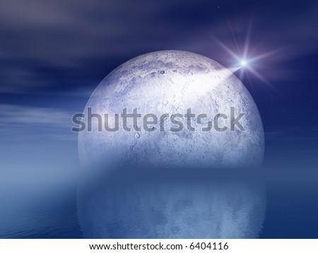 Night Shooting Star and Moon Over Sea - stock photo
