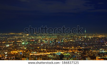 Night-Shot from Tehran skyline with panoramic view of the city. - stock photo