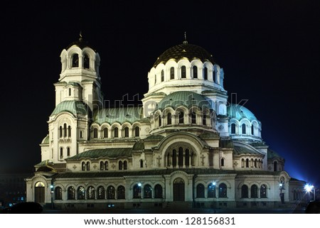 Night shot of a St. Alexander Nevsky cathedral in Sofia, Bulgaria - stock photo