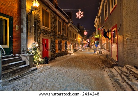 Night shot of a street in the old town of Quebec City, Canada
