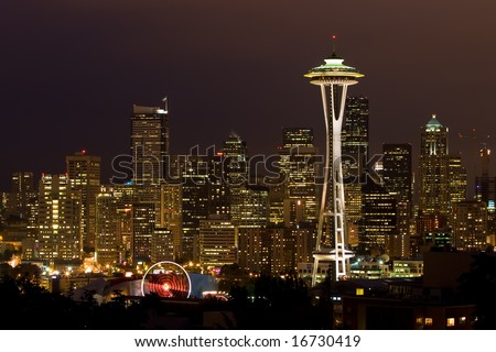 Night shot of City of Seattle with Space Needle. - stock photo