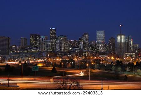 Night shot of Denver, Colorado; long exposure - stock photo