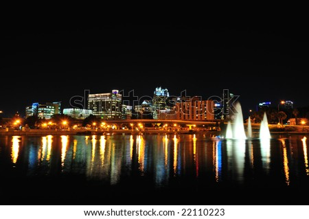 Night shot of downtown Orlando from Lake Lucerne
