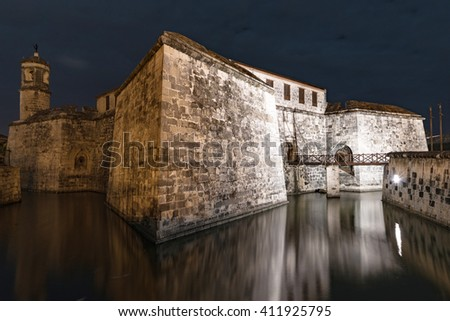 night shot of fortress in old town of havana - stock photo