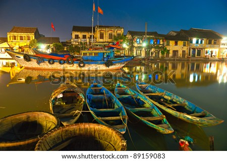 Night shot of Hoi An. Vietnam. Unesco World Heritage Site. - stock photo