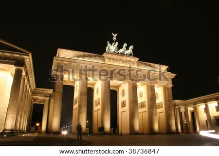 night shot of illuminated brandenburg gate - stock photo