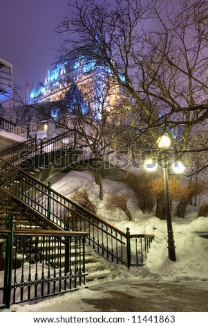 Night shot of Le Chateau Frontenac. - stock photo