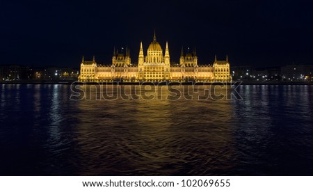 night shot of parliament building in the budapest, hungary