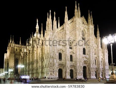 night shot of piazza Duomo. Milan Italy - stock photo