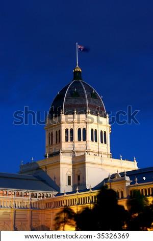 Night shot of Royal Exhibition Building in Carlton Gardens (Melbourne) - stock photo